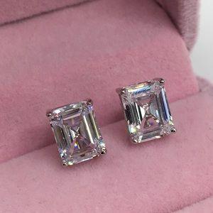 Jewelry - 14k white gold emerald diamond 5 ct earrings